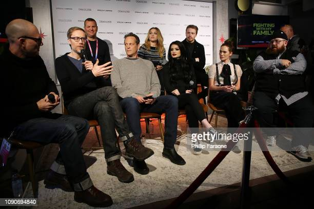 Kevin Misher Florence Pugh Jack Lowden Dominic Patten Stephen Merchant Vince Vaughn WWE Superstar Paige Lena Headey and Nick Frost speak onstage...
