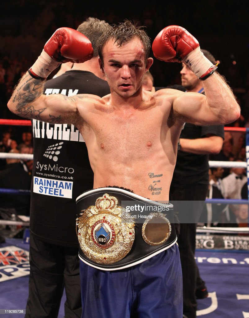 Kevin Mitchell celebrates after defeating John Murray in the vacant WBO Inter-Continental Lightweight Championship bout at Echo Arena on July 16, 2011 in Liverpool, England.