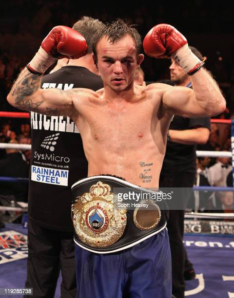 Kevin Mitchell celebrates after defeating John Murray in the vacant WBO Inter-Continental Lightweight Championship bout at Echo Arena on July 16,...