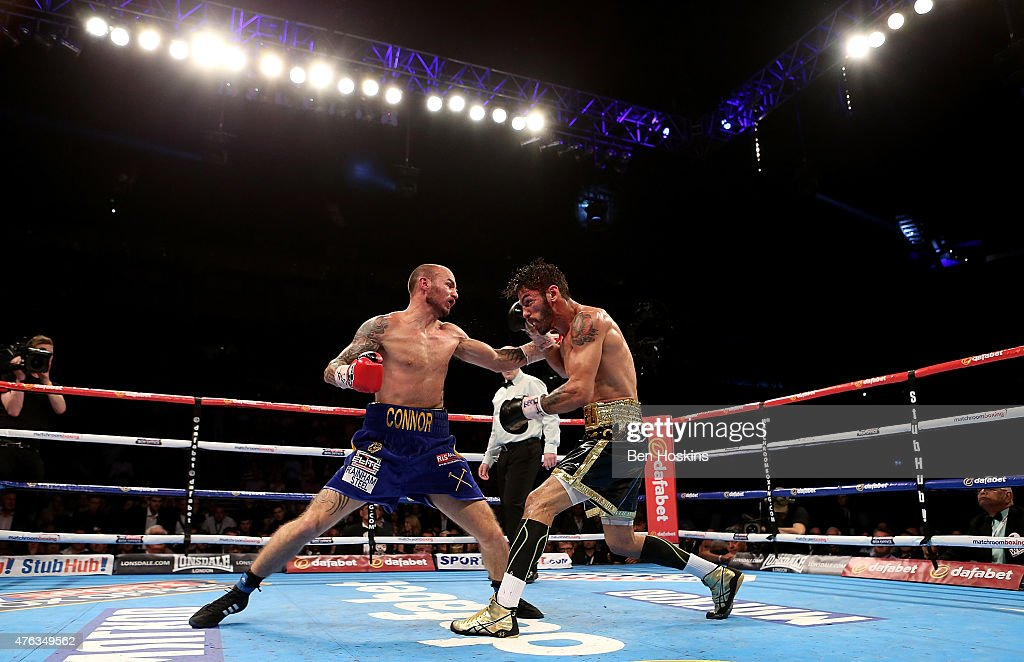 Kevin Mitchell of England and Jorge Linares of Venezuela exchange blows during their WBC World Lightweight Championship bout at The O2 Arena on May 30, 2015 in London, England.