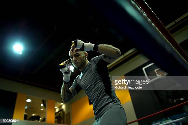 Kevin Mitchell takes part in a media workout session at the Reebok Sports Club on December 7 2015 in London England