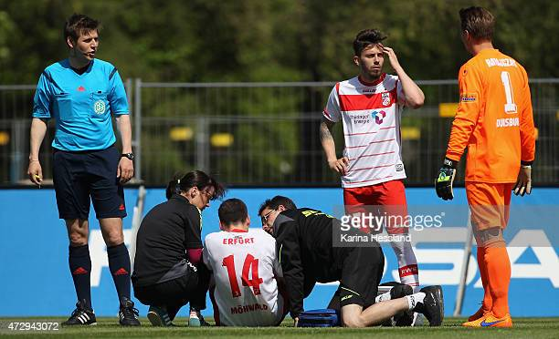 Kevin Moehwald of Erfurt with injury on the ground during the Third League match between FC Rot Weiss Erfurt and MSV Duisburg at Steigerwaldstadion...