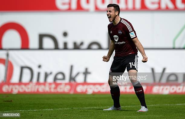 Kevin Moehwald of Nuernberg reacts during the second Bundesliga match between Greuther Fuerth and 1 FC Nuernberg at Stadion am Laubenweg on September...