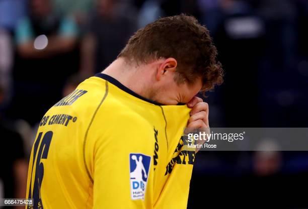 Kevin Moeller goaltender of Flensburg looks dejected after the Rewe Final Four final match between SG FlensburgHandewitt and Thw Kiel at Barclaycard...