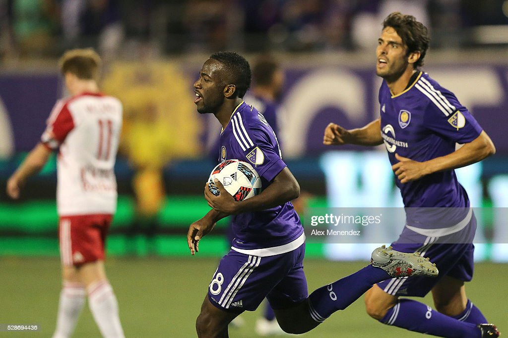 Kevin Molino #18 of Orlando City SC celebrates his goal during an MLS soccer match against the New York Red Bulls at Camping World Stadium on May 6, 2016 in Orlando, Florida. The game ended in a 1-1 draw.