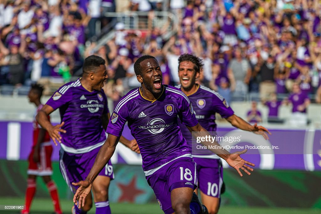 Kevin Molino #18 of the Orlando City Lions Scores the second goal for the team against the New England Revolution at the Citrus Bowl in Orlando, Florida on April 17, 2016.