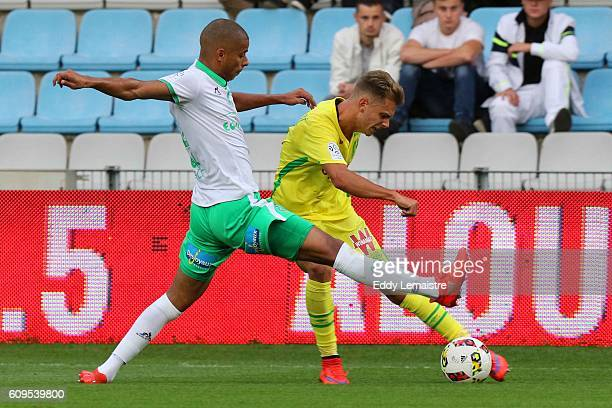 Kevin Monnet Paquet of ASSE and Alexander Kacaniklic of Nantes during the Ligue 1 match between FC Nantes and AS Saint Etienne at Stade de la...