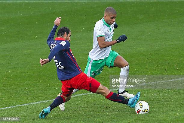 Kevin Monnet Paquet of Saint Etienne and Nicolas Seube of Caen during the Ligue 1 match between SM Caen and AS SaintEtienne at Stade Michel D'Ornano...