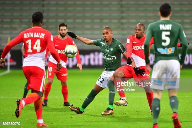 Kevin Monnet Paquet of St Etienne and Djibril Sidibe of Monaco during the Ligue 1 match between AS SaintEtienne and AS Monaco at Stade...