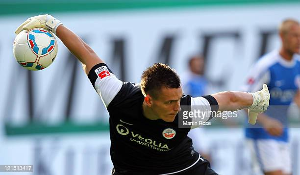 Kevin Mueller, goalkeeper of Rostock throws the ball during the Second Bundesliga match between FC Hansa Rostock and Alemannia Aachen at DKB Arena on...