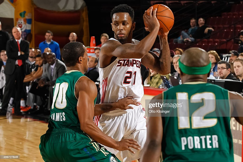 Kevin Murphy #21 of the Idaho Stampede defends the ball from Ra'shad James #10 of the Reno Bighorns during an NBA D-League game on November 28, 2014 at CenturyLink Arena in Boise, Idaho.