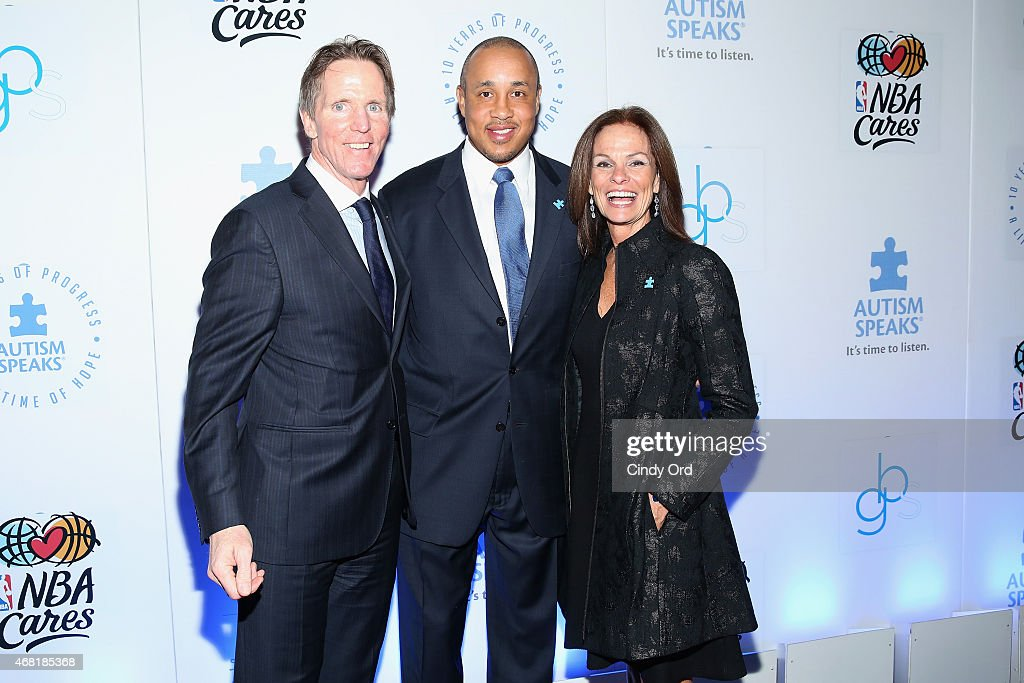 Kevin Murray, John Starks and Liz Feld attend the Autism Speaks Tip-off For A Cure 2015 on March 30, 2015 in New York City.
