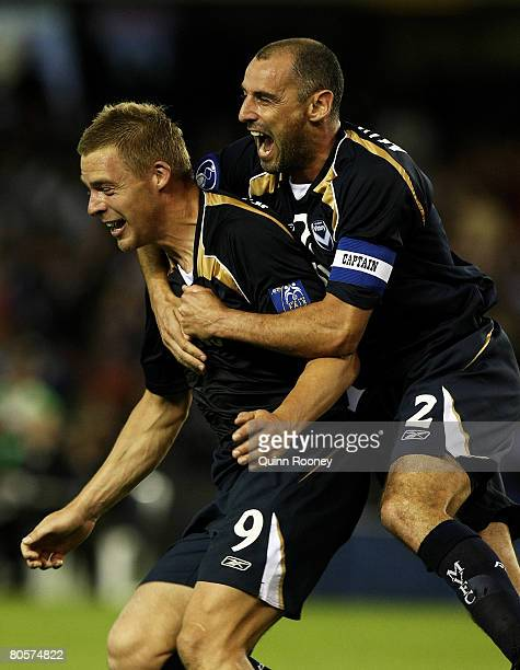 Kevin Muscat and Daniel Allsopp of the Victory celebrate Danny Allsopp's second goal during the AFC Champions League Group G match between the...