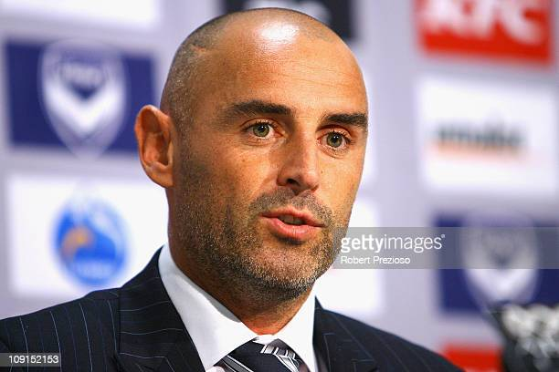 Kevin Muscat announces his retirement after a Melbourne Victory ALeague training session at Gosch's Paddock on February 16 2011 in Melbourne Australia