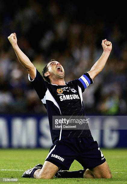Kevin Muscat captain of the Victory raises his arms as the final siren sounds in the Hyundai ALeague Grand Final between the Melbourne Victory and...