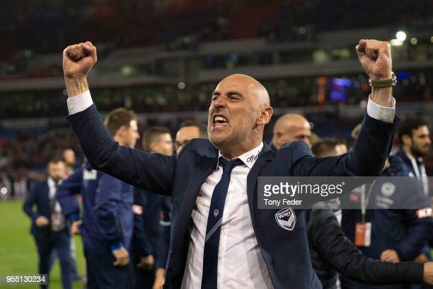 Kevin Muscat celebrates the win over the Jets during the 2018 ALeague Grand Final match between the Newcastle Jets and the Melbourne Victory at...