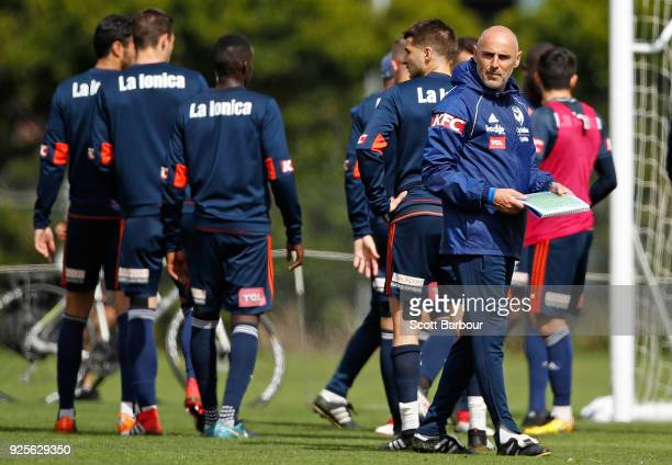 Kevin Muscat Head Coach of the Victory speaks to his players during a Melbourne Victory ALeague training session at Gosch's Paddock on March 1 2018...