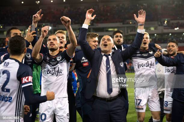 Kevin Muscat of the Victory celebrates the win over the Jets during the 2018 ALeague Grand Final match between the Newcastle Jets and the Melbourne...