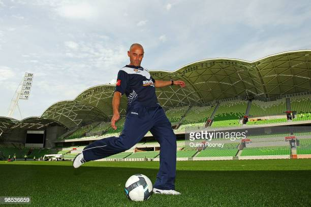 Kevin Muscat of the Victory kicks the ball at a Melbourne Victory Press Conference at AAMI Park on April 19 2010 in Melbourne Australia AAMI Park...