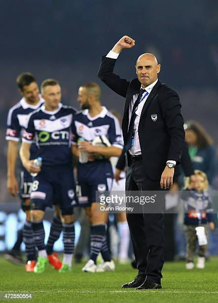 Kevin Muscat the coach of the Victory celebrates winning the ALeague semi final match between Melbourne Victory and Melbourne City at Etihad Stadium...