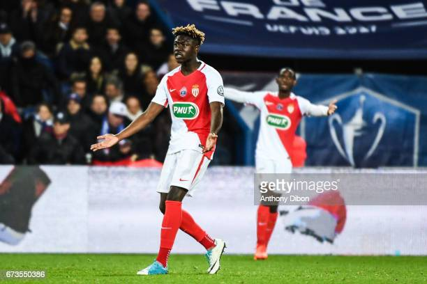 Kevin N Doram of Monaco looks dejected during the Semi final of the French Cup match between Paris SaintGermain and As Monaco at Parc des Princes on...