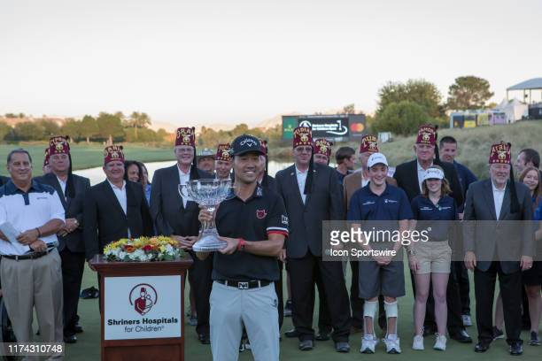 Kevin Na accepts his trophy after winning the Shriners Hospitals for Children Open for a second time on October 6, 2019 at TPC Summerlin in Las...