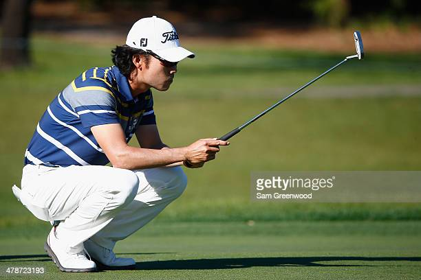Kevin Na assesses a shot on the 7th green during the second round of the Valspar Championship at Innisbrook Resort and Golf Club on March 14 2014 in...