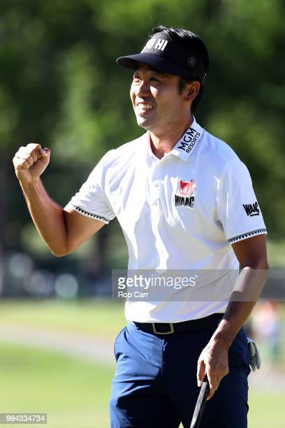 Kevin Na celebrates after putting out to win the A Military Tribute At The Greenbrier held at the Old White TPC course on July 8 2018 in White...
