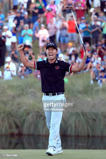 Kevin Na celebrates after winning the Shriners Hospitals for Children Open on the second playoff hole during the final round at TPC Summerlin on...