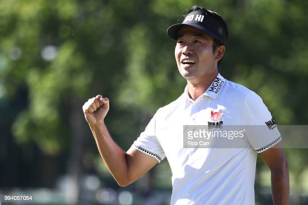 Kevin Na celebrates after winning the tournament during the final round of A Military Tribute At The Greenbrier held at the Old White TPC course on...