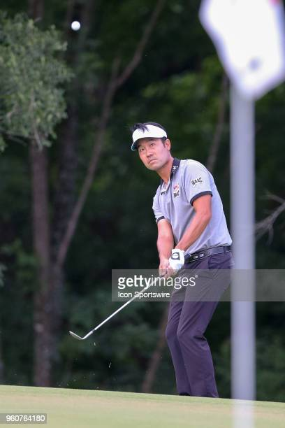 Kevin Na chips onto the 17th green during the final round of the 50th annual ATT Byron Nelson on May 20 2018 at Trinity Forest Golf Club in Dallas TX