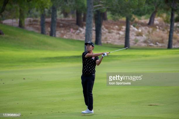 Kevin Na hits a fairway shot on the ninth hole during the second round of the Shriners Hospitals for Children Open on October 9, 2020 at TPC...