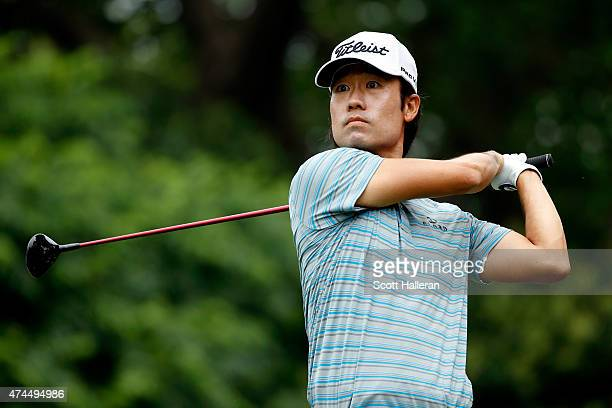 Kevin Na hits a shot from the 9th tee during the third round of the Crowne Plaza Invitational at the Colonial Country Club on May 23 2015 in Fort...