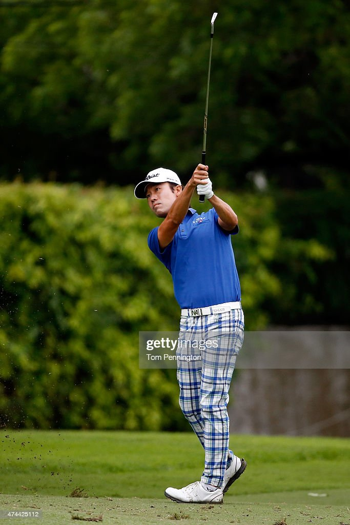 Kevin Na hits a shot on the 15th tee during the second round of the Crowne Plaza Invitational at the Colonial Country Club on May 22, 2015 in Fort Worth, Texas.