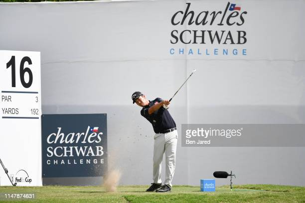 Kevin Na hits a shot on the sixteenth tee box during the final round of the Charles Schwab Challenge at Colonial Country Club on May 26 2019 in Fort...