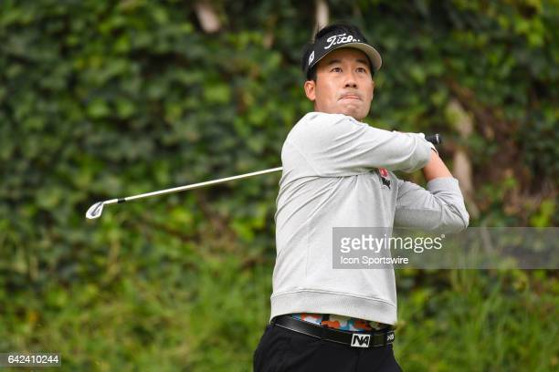 Kevin Na hits from the fifth hole tee during the first round of the Genesis Open golf tournament at the Riviera Country Club on February 16, 2017.