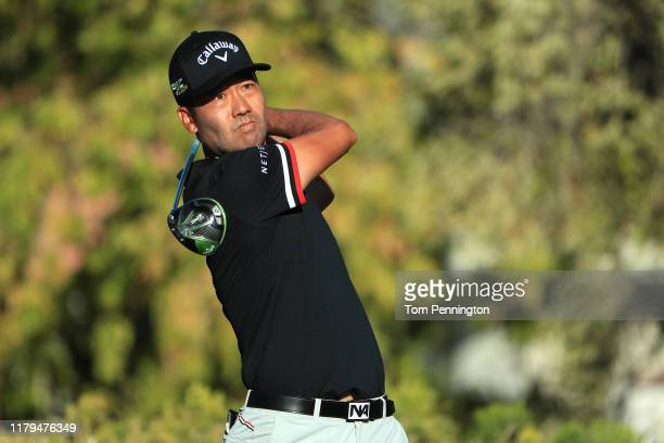 Kevin Na hits off the 16th tee during the final round of the Shriners Hospitals for Children Open at TPC Summerlin on October 6 2019 in Las Vegas...