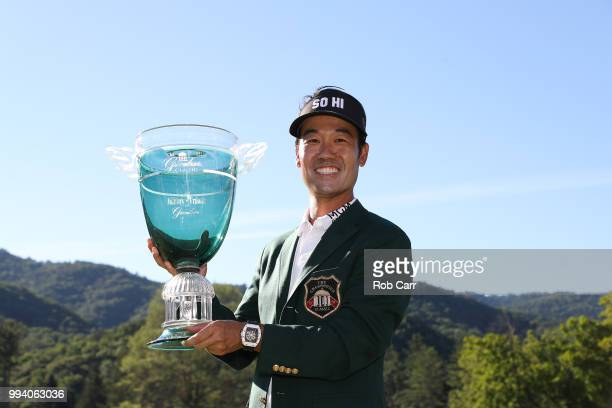 Kevin Na holds the trophy after winning the tournament at A Military Tribute At The Greenbrier held at the Old White TPC course on July 8, 2018 in...
