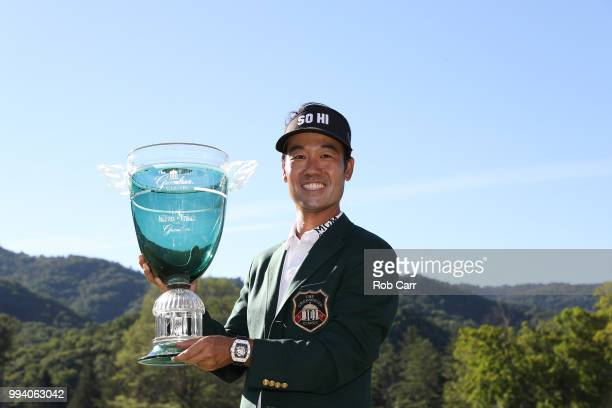 Kevin Na holds the trophy after winning the tournament at A Military Tribute At The Greenbrier held at the Old White TPC course on July 8 2018 in...