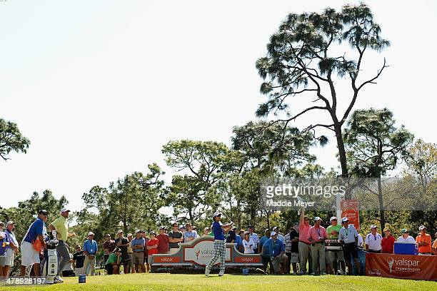 Kevin Na of South Korea hits a tee shot on the 6th hole during the third round of the Valspar Championship at Innisbrook Resort and Golf Club on...