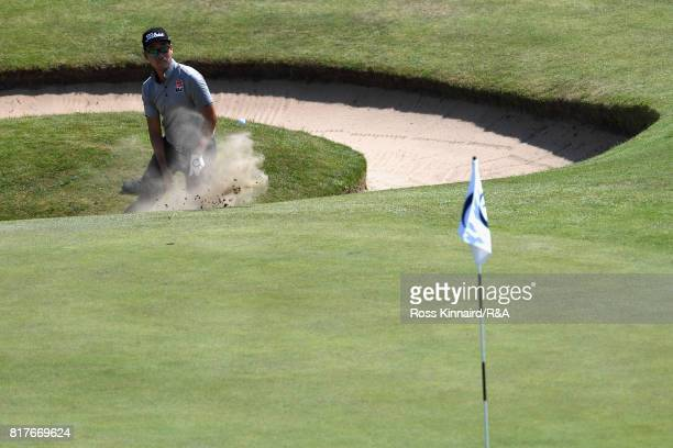 Kevin Na of the United States hits from a bunker during a practice round prior to the 146th Open Championship at Royal Birkdale on July 18, 2017 in...