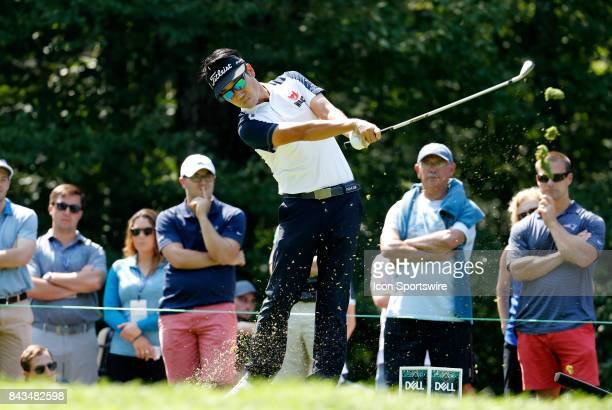Kevin Na, of the United States, hits from the 8th tee during the final round of the Dell Technologies Championship on September 4 at TPC Boston in...