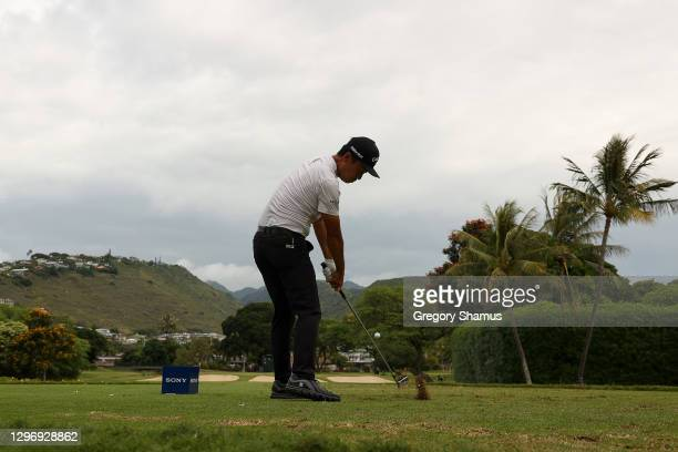 Kevin Na of the United States plays his shot from the seventh tee during the final round of the Sony Open in Hawaii at the Waialae Country Club on...