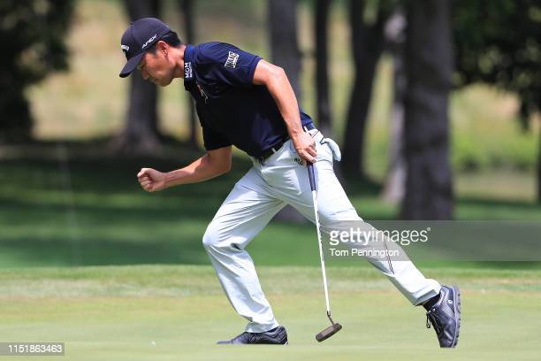 Kevin Na of the United States reacts after a putt on the eighth green during the final round of the Charles Schwab Challenge at Colonial Country Club...