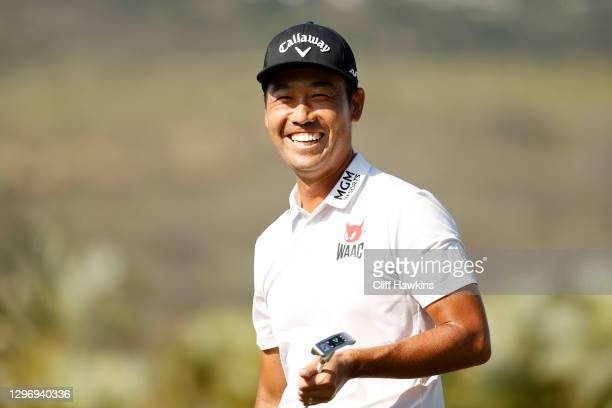 Kevin Na of the United States smiles after winning on the 18th hole during the final round of the Sony Open in Hawaii at the Waialae Country Club on...