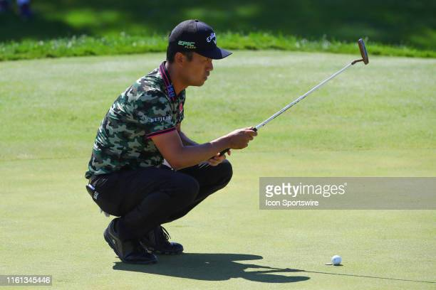 Kevin Na on the 1st green during THE NORTHERN TRUST golf tournament on August 11, 2019 at Liberty National Golf Club in Jersey City, NJ.