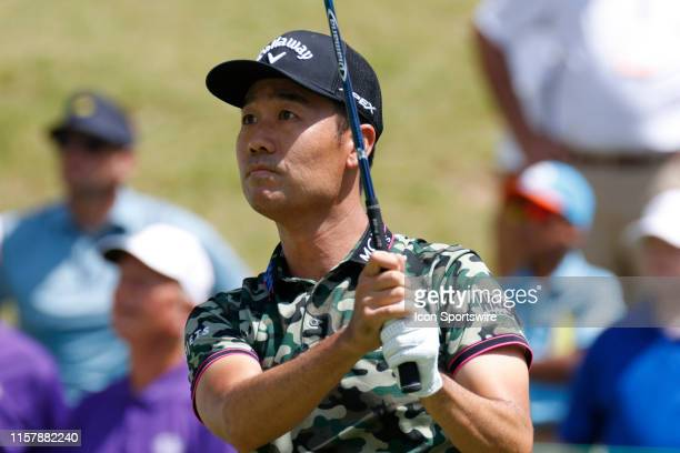 Kevin Na plays his shot from the first tee during the second round of the World Golf Championships - FedEx St. Jude Invitational on July 26, 2019 at...