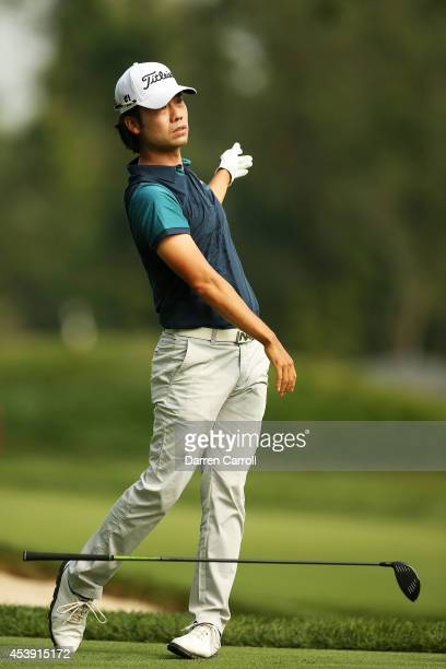 Kevin Na plays his shot from the seventh tee during the first round of The Barclays at The Ridgewood Country Club on August 21 2014 in Paramus New...