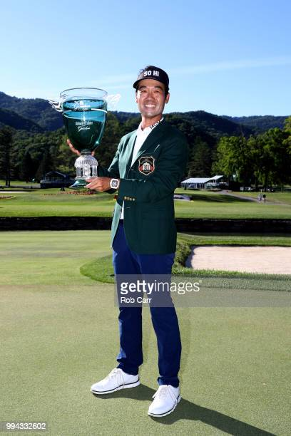 Kevin Na poses with the trophy after winning the A Military Tribute At The Greenbrier held at the Old White TPC course on July 8 2018 in White...