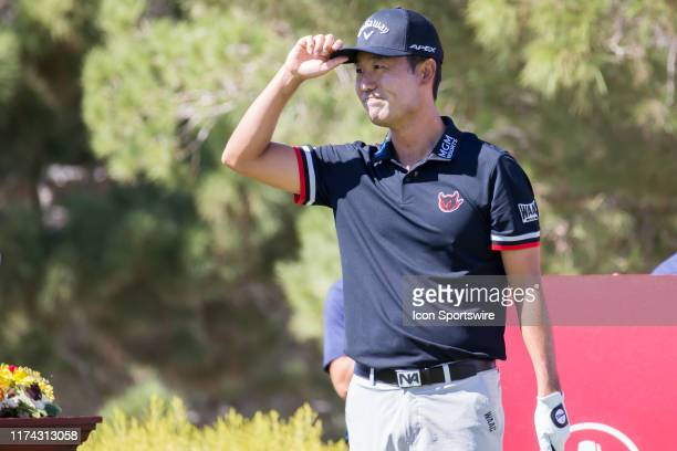Kevin Na prepares to tee off on the 1st hole during the final round of the Shriners Hospitals for Children Open on October 6, 2019 at TPC Summerlin...
